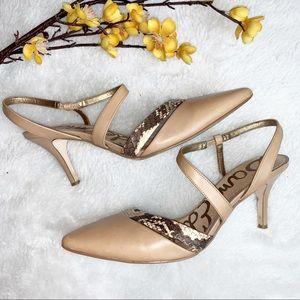 SAM EDELMAN | 7.5 Strappy Sandals Heels Snakeskin